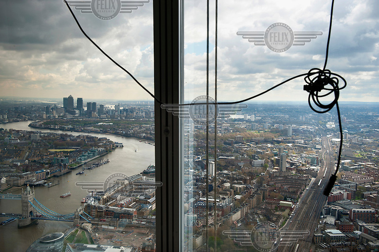 A view towards the east from The Shard, which will be the tallest building in Western Europe and is due to be completed and officially inaugurated on the 5th July 2012, opening to the public in 2013. It will contain offices, restaurants, a hotel, apartments and an observation deck.