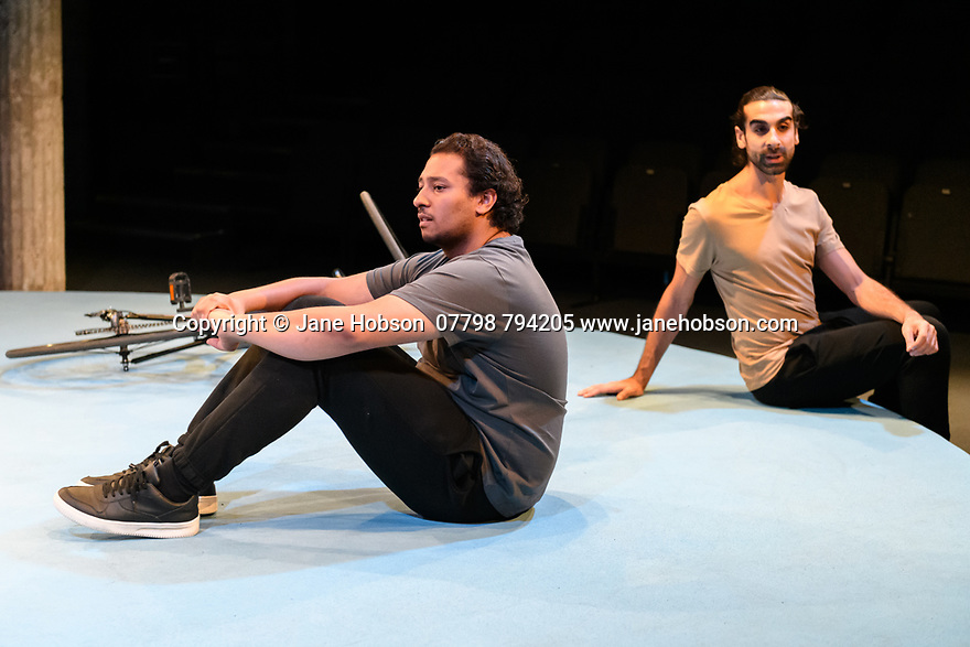 """London, UK. 25.11.2019. """"The Arrival"""", written and directed by Bijan Sheibani, opems at the Bush Theatre. Set and costume design is by Samal Black, lighting design by Oliver Fenwick, movement direction by Aline David. The Picture shows: Irfan Shamji (Samad), Scott Karim (Tom). Photograph © Jane Hobson."""