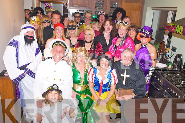 Mary Carey, Pinewood Estate, Killarney, pictured with family and friends as she celebrated her 40th birthday with a fancy dress at home on Friday night.