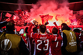 7th December 2017, Rajko Mitic Stadium, Belgrade, Serbia, UEFA Europa League football, Red Star Belgrade versus FC Cologne; Players of Red Star Belgrade celebrate the victory with their fans