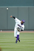 Winston-Salem Dash right fielder Luis Alexander Basabe (16) throws the ball back towards the infield during the game against the Salem Red Sox at BB&T Ballpark on April 20, 2018 in Winston-Salem, North Carolina.  The Red Sox defeated the Dash 10-3.  (Brian Westerholt/Four Seam Images)