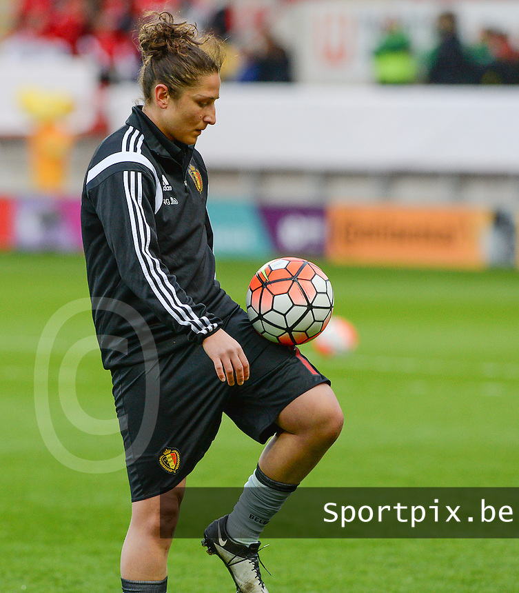 20160408 - ROTHERHAM , ENGLAND : Belgian Sara Yuceil pictured during the female soccer game between England and The Belgian Red Flames - Belgium , the fourth game in the qualification for the European Championship in The Netherlands 2017  , Friday 8 th April 2016 at AESSEAL New York Stadium in Rotherham , England . PHOTO DAVID CATRY