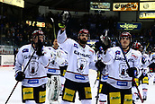28th September 2017, Saturn Arena, Ingolstadt, Germany; German Hockey League,  ERC Ingolstadt versus Eisbaren Berlin; Berlin players celebrate after the victory