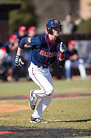 Dalton Hoiles (32) of the Shippensburg Raiders hustles down the first base line against the Belmont Abbey Crusaders at Abbey Yard on February 8, 2015 in Belmont, North Carolina.  The Raiders defeated the Crusaders 14-0.  (Brian Westerholt/Four Seam Images)