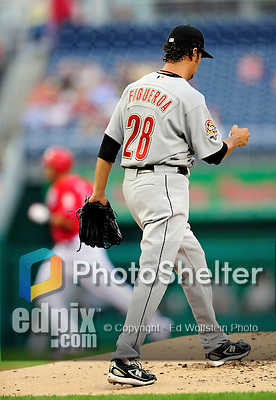 23 September 2010: Houston Astros pitcher Nelson Figueroa steps back to the mound after serving up a home run ball to Washington Nationals' outfielder Michael Morse at Nationals Park in Washington, DC. The Nationals defeated the Astros 7-2 for their third consecutive win, taking the series three games to one. Mandatory Credit: Ed Wolfstein Photo