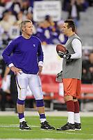 Dec 6, 2009; Glendale, AZ, USA; Minnesota Vikings quarterback Brett Favre (left) talks with Arizona Cardinals quarterback Kurt Warner prior to the game at University of Phoenix Stadium. Mandatory Credit: Mark J. Rebilas-
