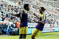 Pictured: Wilfried Bony of Swansea celebrating his equaliser. Saturday 19 April 2014<br />