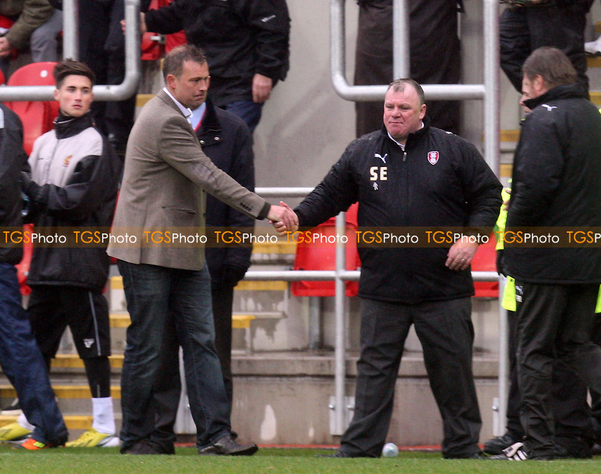 Rotherham United manager Steve Evans and Dagenham manager Wayne Burnet - Rotherham United vs Dagenham and Redbridge at the New York Stadium - 09/03/13 - MANDATORY CREDIT: Dave Simpson/TGSPHOTO - Self billing applies where appropriate - 0845 094 6026 - contact@tgsphoto.co.uk - NO UNPAID USE.