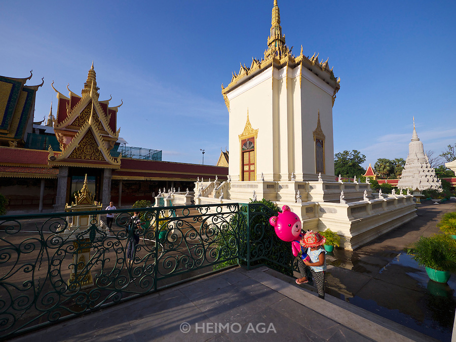 Phnom Penh, Cambodia. Royal Palace. Silver Pagoda Compound. The Library (m.), Stupa of HM King Norodom (r.)