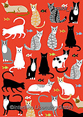 Kate, GIFT WRAPS, GESCHENKPAPIER, PAPEL DE REGALO, paintings+++++,GBKM382,#gp#, EVERYDAY ,cat,cats