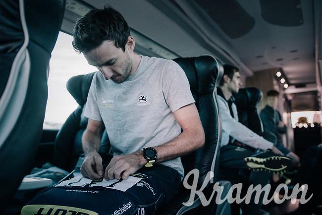 Adam Yates (GBR/Orica-Scott) prepping his #1 race number<br /> <br /> Il Lombardia 2017<br /> Bergamo to Como (ITA) 247km