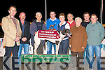 TOP DOG: Tom and Breda Molyneaux owners of Tribecca Allstar winner of the Wine Buff Sweepstake Final being presented with the winning trophy by Kieran Casey at the Kingdom Greyhound Stadium on Friday l-r: Declan Dowling (General Manager KGS), DJ Kelly, Tom Molyneaux, Kieran Casey, Breda Molyneaux, Michael Molyneaux, Mary Kelly, Stephen O'Carroll and Patrick Buckley..