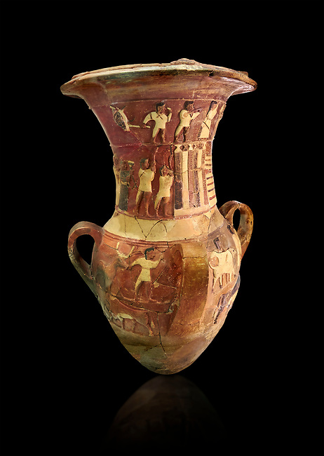 Hüseyindede vases, Old Hittite Polychrome Relief vessel depicting a procession of musicians and dancers, ox wagon, bulls and sacrificial altar, 16th century BC.  Huseyindede . Çorum Archaeological Museum, Corum, Turkey. Against a black bacground.