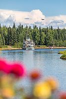Bush plane on the Chena River and the Historic sternwheeler Riverboat Discovery in Interior Alaska's golden heart city of Fairbanks, Alaska