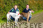 "Enjoying the the Kilflynn Coursing on monday were Eamon Mackey with ""Moonveen King"" and Brian O'Sullivan with ""Boomtown Ali"" competing in the Pasty Byrne Memorial Cup and Replica"
