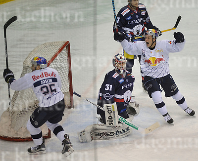 March 31-17,Mercedes-Benz-Arena,Berlin,Germany<br /> DEL Ice-Hockey ,German ice-hockey<br /> Playoff game number 4<br /> Eisbaeren Berlin vs EHC Red Bull M&Uuml;NCHEN<br /> Dominik Kahun,r,celebrates the GWG vs goalie Petri Vehanen, Red Bull wins 1:3.