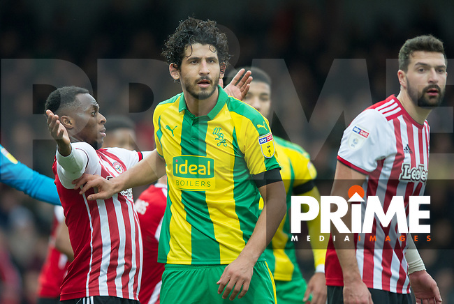 WBA's Ahmed El-Sayed Hegazi during the Sky Bet Championship match between Brentford and West Bromwich Albion at Griffin Park, London, England on 16 March 2019. Photo by Andrew Aleksiejczuk / PRiME Media Images.