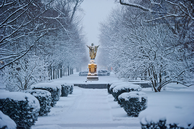 Jan. 22, 2013; God Quad on a snowy morning..Photo by Matt Cashore/University of Notre Dame
