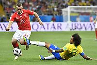 (180617) -- ROSTOV-ON-DON, June 17, 2018 -- Marcelo (R) of Brazil vies with Xherdan Shaqiri of Switzerland during a group E match between Brazil and Switzerland at the 2018 FIFA World Cup WM Weltmeisterschaft Fussball in Rostov-on-Don, Russia, June 17, 2018. The match ended in a 1-1 draw. ) (SP)RUSSIA-ROSTOV-ON-DON-2018 WORLD CUP-GROUP E-BRAZIL VS SWITZERLAND ChenxYichen  <br /> Rostov on Don 17-06-2018 Football FIFA World Cup Russia  2018 <br /> Brazil - Switzerland / Brasile - Svizzera <br /> Foto Xinhua/Imago/Insidefoto