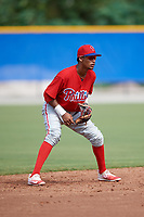 Philadelphia Phillies Jonathan Guzman (8) during an Instructional League game against the Toronto Blue Jays on October 7, 2017 at the Englebert Complex in Dunedin, Florida.  (Mike Janes/Four Seam Images)