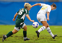 Florida International University Golden Panthers against Stetson at Miami, Florida on Sunday, September 23, 2007.  The Golden Panthers won, 2-1...FIU sophomore midfielder/forward Michelle Casadevall (Miami, Fla.) (12) attempts to steal the ball from Stetson junior forward Stephanie Webb (16) in the first half.