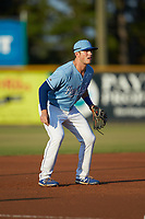 Burlington Royals third baseman Jake Means (9) on defense against the Johnson City Cardinals at Burlington Athletic Stadium on September 3, 2019 in Burlington, North Carolina. The Cardinals defeated the Royals 7-2 to even Appalachian League Championship series at one game a piece. (Brian Westerholt/Four Seam Images)