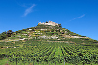 Germany, Baden-Wuerttemberg, Markgraefler Land, wine village Staufen; castle ruin Staufen nested on a hill