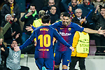 Lionel Andres Messi of FC Barcelona celebrates with teammate Luis Alberto Suarez Diaz during the UEFA Champions League 2017-18 Round of 16 (2nd leg) match between FC Barcelona and Chelsea FC at Camp Nou on 14 March 2018 in Barcelona, Spain. Photo by Vicens Gimenez / Power Sport Images