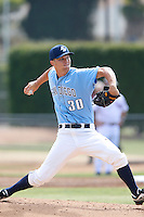 Michael Wagner #30 of the University of San Diego Toreros pitches against the Loyola Marymount Lions at Page Stadium on April 5, 2013 in Los Angeles, California. (Larry Goren/Four Seam Images)