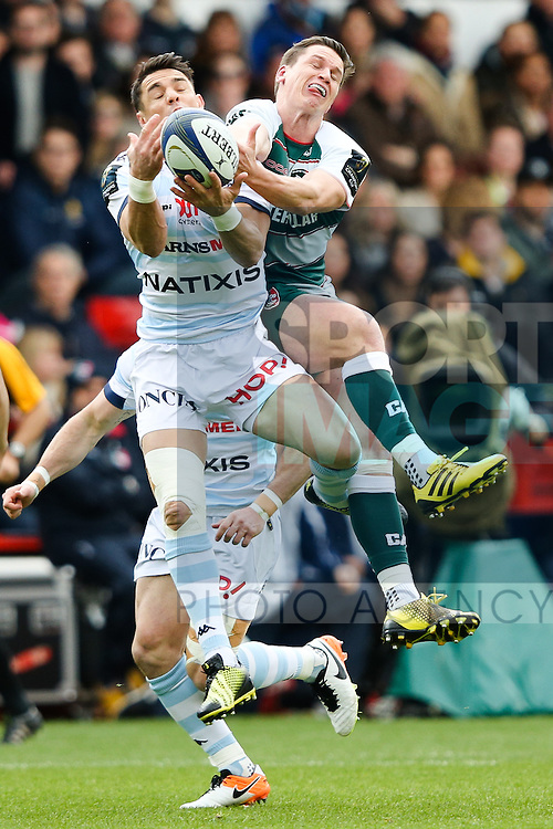 Leicester?s Freddie Burns and Racing 92?s Dan Carter during the 2016 semi-final of the European Rugby Champions Cup match at the City Ground, Nottingham. Photo credit should read: Charlie Forgham Bailey/Sportimage