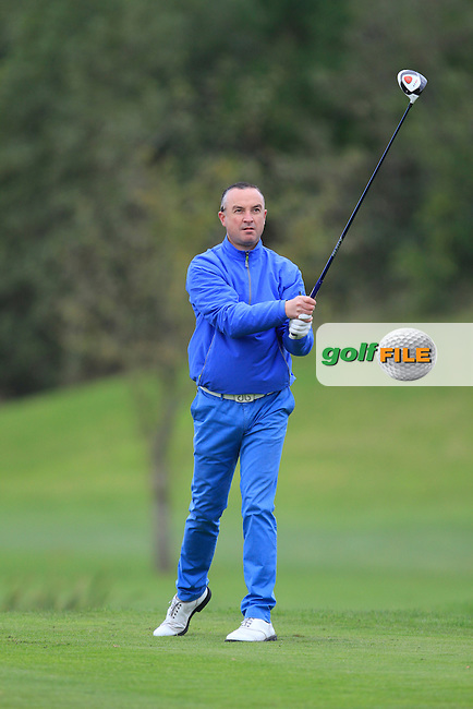 Mark O'Boyle (Heath G.C) on the 16th tee during Round 2 of The Cassidy Golf 103rd Irish PGA Championship in Roganstown Golf Club on Friday 11th October 2013.<br /> Picture:  Thos Caffrey / www.golffile.ie