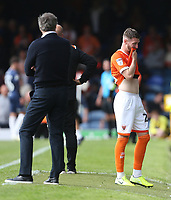 Blackpool's James Husband walks off after receiving a red card<br /> <br /> Photographer Rob Newell/CameraSport<br /> <br /> The EFL Sky Bet Championship - Southend United v Blackpool - Saturday 10th August 2019 - Roots Hall - Southend<br /> <br /> World Copyright © 2019 CameraSport. All rights reserved. 43 Linden Ave. Countesthorpe. Leicester. England. LE8 5PG - Tel: +44 (0) 116 277 4147 - admin@camerasport.com - www.camerasport.com