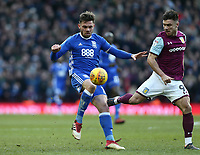 Sam Gallagher of Birmingham City holds the ball against Scott Hogan of Aston Villa <br /> <br /> Photographer Leila Coker/CameraSport<br /> <br /> The EFL Sky Bet Championship - Aston Villa v Birmingham City - Sunday 11th February 2018 - Villa Park - Birmingham<br /> <br /> World Copyright &copy; 2018 CameraSport. All rights reserved. 43 Linden Ave. Countesthorpe. Leicester. England. LE8 5PG - Tel: +44 (0) 116 277 4147 - admin@camerasport.com - www.camerasport.com