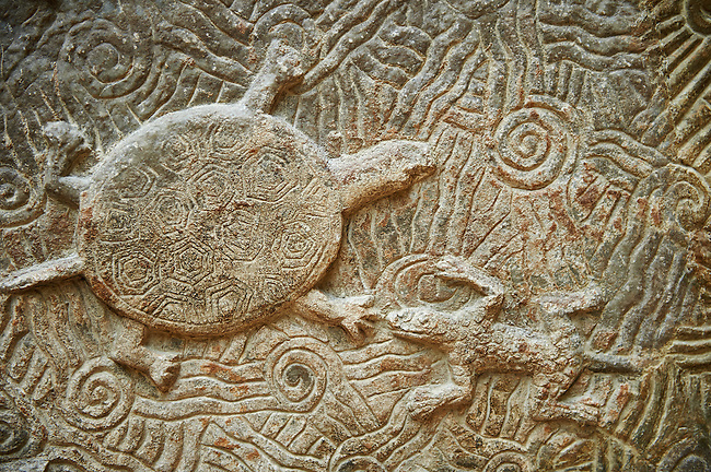 Stone relief sculptured panel of a terrapin. From the northern courtyard,  Inv AO 19890 from Dur Sharrukin the palace of Assyrian king Sargon II at Khorsabad, 713-706 BC.  Louvre Museum Room 4 , Paris