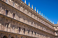 Apartments in famous Plaza Mayor main square - Spanish Baroque style architecture in old town Salamanca, Spain