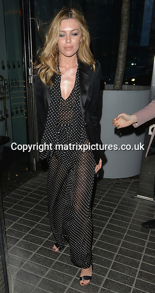 NON EXCLUSIVE PICTURE: MATRIXPICTURES.CO.UK<br /> PLEASE CREDIT ALL USES<br /> <br /> WORLD RIGHTS<br /> <br /> English model Abbey Clancy is pictured attending the Leni's model management spring party at Mondrian hotel in London.<br /> <br /> APRIL 20th 2016<br /> <br /> REF: LTN 161084
