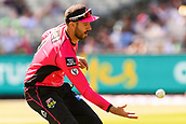 10th February 2019, Melbourne Cricket Ground, Melbourne, Australia; Australian Big Bash Cricket, Melbourne Stars versus Sydney Sixers; James Vince of the Sydney Sixers fields the ball