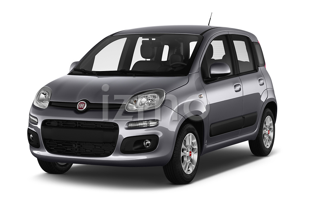 2017 Fiat Panda Lounge 5 Door Hatchback Angular Front stock photos of front three quarter view