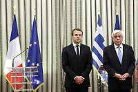 Pictured: (L-R) French President Emmanuel Macron and Greek President Prokopis Pavlopoulos. Thurday 07 September 2017<br /> Re: French President Emmanuel Macron gives a press conference alongside Greek President Prokopis Pavopoulos at the Presidential Mansion during his state visit to Athens, Greece.