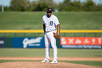 Mesa Solar Sox relief pitcher Sandy Baez (62), of the Detroit Tigers organization, looks in for the sign during an Arizona Fall League game against the Peoria Javelinas at Sloan Park on October 24, 2018 in Mesa, Arizona. Mesa defeated Peoria 4-3. (Zachary Lucy/Four Seam Images)