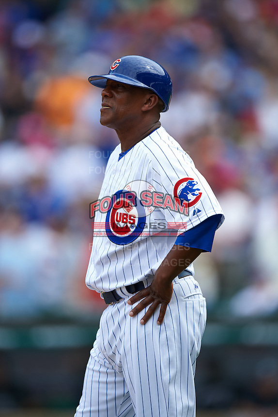 Chicago Cubs third base coach Gary Jones (1) during a game against the Milwaukee Brewers on August 13, 2015 at Wrigley Field in Chicago, Illinois.  Chicago defeated Milwaukee 9-2.  (Mike Janes/Four Seam Images)