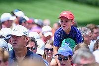A young golf fan gets a bird's eye view at 8 during Saturday's round 3 of the PGA Championship at the Quail Hollow Club in Charlotte, North Carolina. 8/12/2017.<br /> Picture: Golffile | Ken Murray<br /> <br /> <br /> All photo usage must carry mandatory copyright credit (&copy; Golffile | Ken Murray)