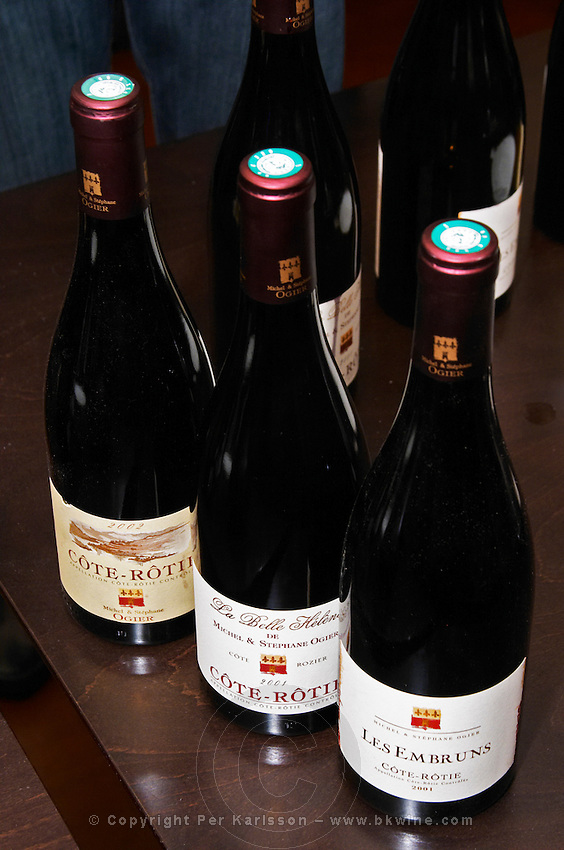 Bottles of Michel and Stephane Ogier Cote Rotie 2002, La Belle Helene Cote Rozier Cote Rotie 2001 and Les Embruns Cote Rotie 2001  Ampuis, Cote Rotie, Rhone, France, Europe