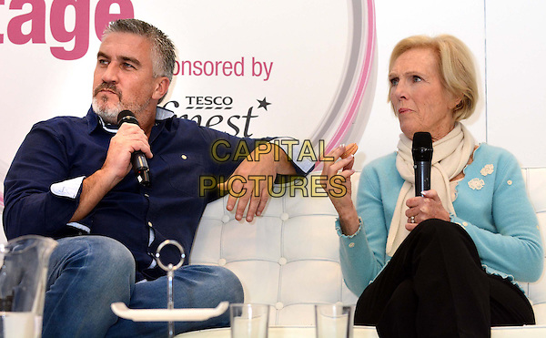 LONDON, ENGLAND - NOVEMBER 15: Paul Hollywood &amp; Mary Berry  at the BBC Good Food Show, Olympia on November 15, 2013 in London, England<br /> CAP/PP/BK<br /> &copy;Bob Kent/PP/Capital Pictures