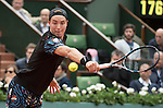 May 24,2016:   Jan-Lennard Struff (GER) loses to Jo-Wilfried Tsonga (FRA) 6-3 in the first set at Roland Garros being played at Stade Roland Garros in Paris, .  ©Leslie Billman/Tennisclix