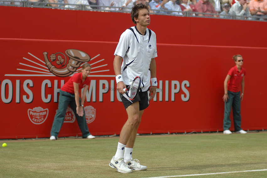 Photo: Catrine Gapper..The Artois Championships 2007. 17/06/2007..Nicolas Mahut loosing to Andy Roddick in The Artois Championships final.
