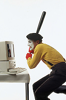 Patrick Treadway a Mime from Spokane, WA put on a show in the studio.  Treaway is a silent art of acting mime who does scenes by expressing his feelings with gestures.