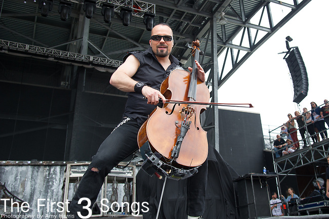 Paavo Lötjönen of Apocalyptica performs during the 2015 Rock On The Range festival at Columbus Crew Stadium in Columbus, Ohio.