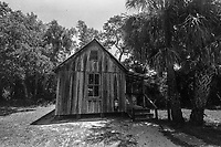 Exterior view, Damkohler House, built in 1882, Koreshan State Park, Koreshan Unity Settlement Historic site, Estero, FL  July 2018. Shot with a Canon EOS 650 35mm SLR camera on Kodak T-Max 400 film. (Photo by Brian Cleary/ www.bcpix.com )