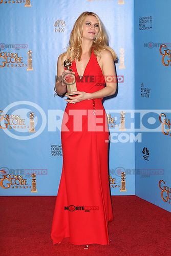BEVERLY HILLS, CA - JANUARY 13: Claire Danes in the press room at the 70th Annual Golden Globe Awards at the Beverly Hills Hilton Hotel in Beverly Hills, California. January 13, 2013. Credit MediaPunch Inc. /NortePhoto